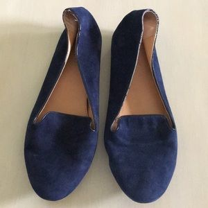 Navy suede smoking slippers